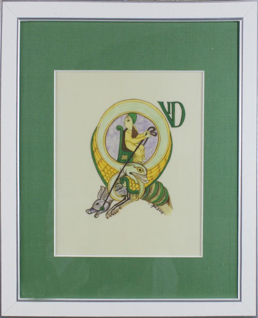 103 LETTRINE R PSAUTIER DE CORBIE (ENLUMINURE D'ESCOURBIAC BERNARD)