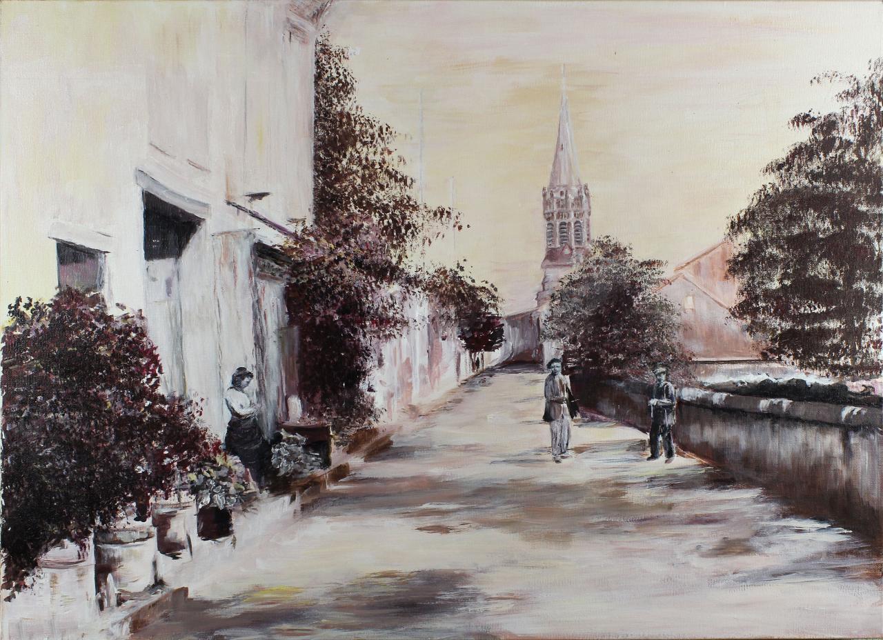 52 UNE RUE DE LAGRAVE EN 1900 (ACRYLIQUE DE BRUNET PIERRETTE)