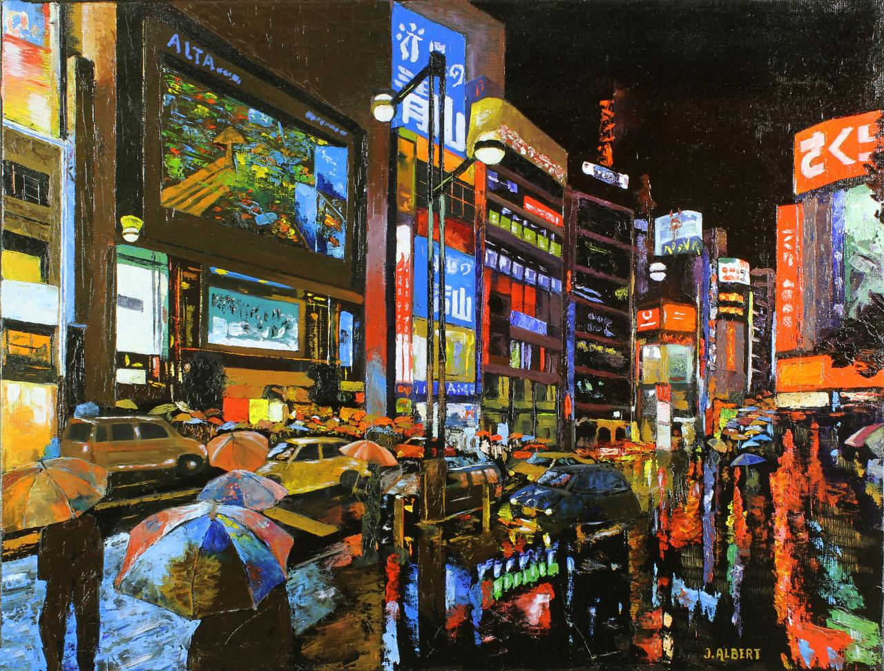 7 TOKYO LA NUIT (HUILE D'ALBERT JEAN)